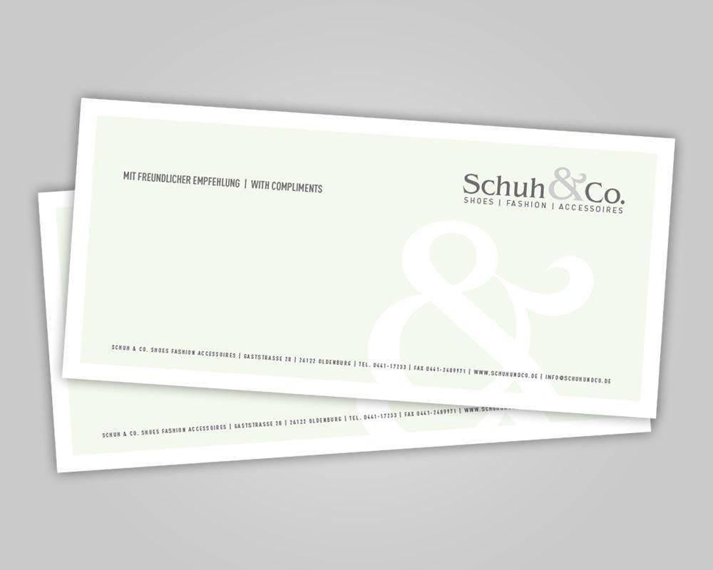 JD Designstudio   Werbeagentur & Webdesign   Schuh & Co. Karte Kurznotiz