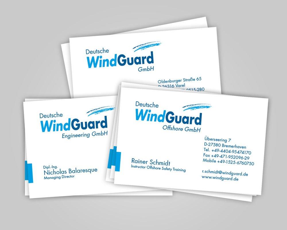 JD Designstudio | Werbeagentur & Webdesign | Deutsche WindGuard Visitenkarten
